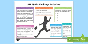 Year 5 AFL Maths Challenge Activity Sheet - ACMNA291, ACMMG109, ACMSP119, ACMMG114, Maths Challenge, Maths Challenge Card, AFL, AFL Maths, Year