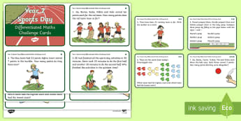 Year 2 Sports Day Maths Differentiated Challenge Cards - KS1, Numeracy, Activity, Questions, Problem Solving, P.E., Events, Adding and Subtracting