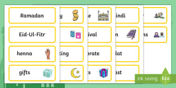Eid Topic Word Cards - ESL Eid Vocabulary Resources