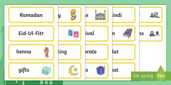 Eid and Ramadan Topic Word Cards - Eid, festival, celebration, Islam, muslim, word cards, flashcards, Eid, Eid-Ul-Fitr, Quran, Salat, henna, fasting