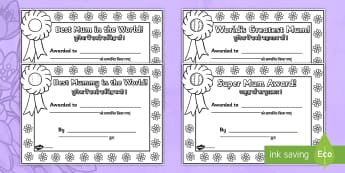 Mother's Day Certificates English/Hindi - Mother's Day Certificates (Colouring) - Mother's day card, mother's day cards, mother's day acti