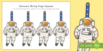 Writing Finger Spacers Astronaut Cut-Outs  - Writing, Finger Spacing, Word Spacing, Independent Writing, Writing Center Tools