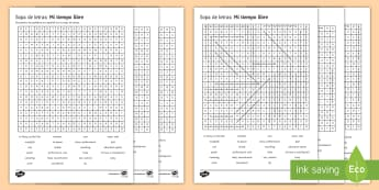 Free Time Differentiated Word Search Spanish - Secondary, 15, minutes, revision, spellings, spanish, topic, activities, game, pairs, groups, free,