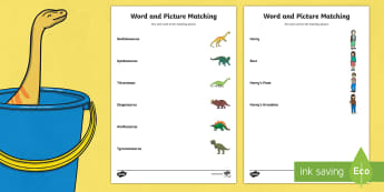 Word and Picture Matching Activity Sheet to Support Teaching on Harry and the Bucketful of Dinosaurs