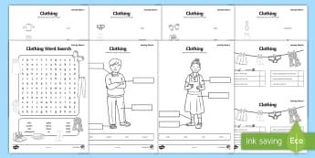 Clothes Activity Sheets - Clothes Activity Sheet Pack Gaeilge - Irish, Gaeilge, clothes, eadai, worksheet, worksheets, activit