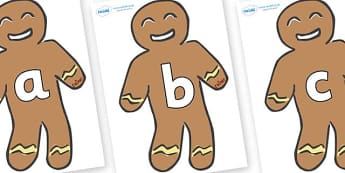 A-Z Alphabet on Gingerbread Men - A-Z, A4, display, Alphabet frieze, Display letters, Letter posters, A-Z letters, Alphabet flashcards