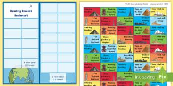 KS2 Landmarks of the World Themed Reading Sticker Reward Bookmarks - Y5, UKS2, Home Readers, Reading Log, Stickers, Motivation