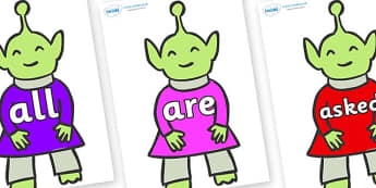 Tricky Words on Aliens - Tricky words, DfES Letters and Sounds, Letters and sounds, display, words