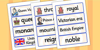 Queen Victoria Word Cards - queen victoria, word cards, topic cards, themed word cards, themed topic cards, key words, key word cards, keyword, writing aid