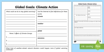 Global Goals Climate Action Fact File Research Activity - Research, ICT, Internet, Digital Literacy, Global Citizenship, Issues, 2nd level, global warming, cl