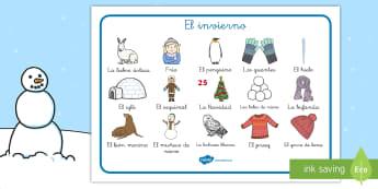 Tapiz de vocabulario: El invierno - frio, invierno, las estaciones del año, las estaciones, invernal, proyectos, temarios, nieve, hielo