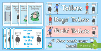 Classroom Toilet Signs Display Pack - toilet, boys, girls, hygiene, display, classroom essentials,