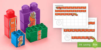 Chinese New Year Number Dragon to 20 Connecting Bricks Game - EYFS Connecting Bricks Resources, Duplo, Lego, building bricks, Chinese New Year, dragon, number seq