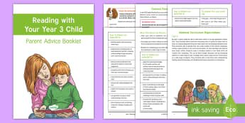 Year 3 Reading with Your Child Parent Advice Booklet  - Y3, LKS2, National Curriculum, expectations, Comprehension, Understanding, Parents, Questioning