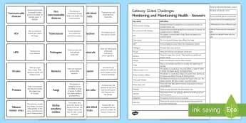 OCR Gateway Global Challenges Monitoring and Maintaining Health Word Loops  - Word Loops, communicable disease, Tuberculosis, HPV, White blood cells, diabetes, placebo