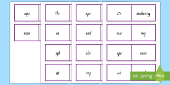 Triple Consonant Blends Matching Activity Cards - Phonics, blends, triple consonants