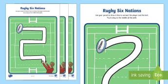 Rugby Themed Pencil Control Activity Sheets - KS1 & KS2 Rugby Six Nations  (4th February 2017), pencil control