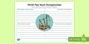 World Pipe Band Championships Listen to the Music Activity Sheet - Piper, Bagpipes, Drummer, Drums, Scottish Music, Listen and respond, ,Scottish