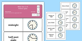 Telling the Time Dominoes - ESL Time Dominoes Game