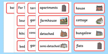 Estate Agents Word Cards - Estate Agents Role Play Pack, Word cards, Word Card, flashcard, flashcards,estate agents, for sale, to let, house, properties, apartment, bungalow, cottage, semi-detached, tarraced, role play, display, poster