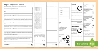 Religion and Abortion Activity Pack - Abortion, Islam, Christianity, Sanctity of Life, Embryo, Foetus