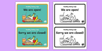 Healthy Eating Cafe Role Play Open And Closed Signs - healthy eating caf