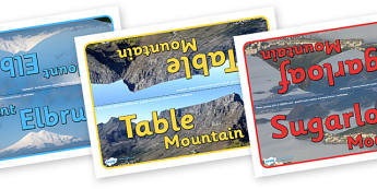 Mountains Table Group Signs - mountains, mountains of the world, mountain, world, group signs, group labels, group table signs, table sign, teaching groups, class group, class groups, table label, Asia, The Himalayans, Mount Everest, The Kilimanjaro,