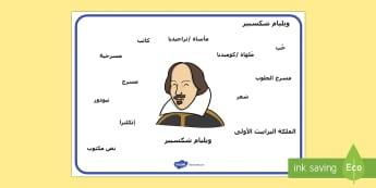 ورقة مفردات متعلقة بأعمال شكسبير  -  ويليام شكسبير، ورقة، مفردات، كتابة، تعبير، مسرح، حب،