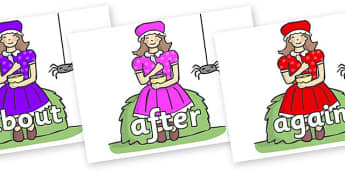 KS1 Keywords on Little Miss Muffet - KS1, CLL, Communication language and literacy, Display, Key words, high frequency words, foundation stage literacy, DfES Letters and Sounds, Letters and Sounds, spelling