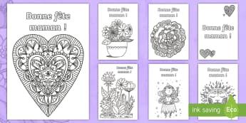 Coloriages anti-stress : Cartes - La fête des mères - fête des mères, fête, mères, mamans, coloriage, anti-stress, cartes, 28 mai 2017, Mother's Day,