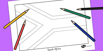 South Africa Flag Colouring Sheet - countries, geography, flags