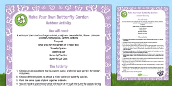 Make Your Own Butterfly Garden Outdoor Activity - Butterfly, life cycle, minibeasts, creepy crawlies, bugs, EYFS, pollination, nectar