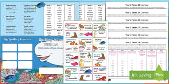 Year 2 Under the Sea Themed Spelling Menu Pack - Spag, Weekly, Lists, Gps, Home Learning