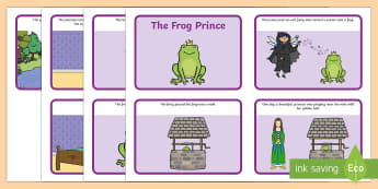 The Frog Prince Story Sequenging (4 per A4) - Frog, princess, prince, evil fairy, splash, kiss, well, sequencing, story sequencing, story resources, 4 per A4, cards,  king, bed, sleep, golden ball, beautiful, fell, plate, palace, traditional tale, st