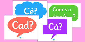 Question Words Posters Gaeilge - question, words, posters, display, questions words
