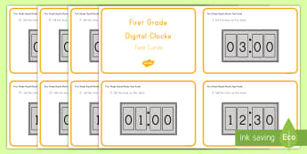 Common Core First Grade Math MD B 3 Reading Digital Clocks Task Cards - Digital Clocks, Measurement and Data, telling the time, 0 clock, half past