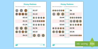 KS2 Money Madness Greater Than and Less Than Activity Sheet Pack - ks2, money madness, greater than, less than, activity, worksheet