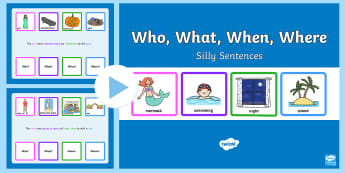 Who, What, When, Where Silly Sentence PowerPoint  - Who What Where When Silly Sentence Cards - question cards, cards, sentance, setence
