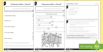 Exclamation Mark or Period Differentiated Activity Sheets - punctuation, period, exclamation mark,English, differentiated activity sheets