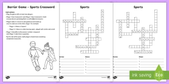 Sports Barrier Game Crossword - Communicative Activity, Paired Game, Paired Talk, Vocabulary, Speaking And Listening