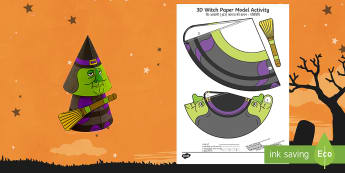 Simple Halloween 3D Witch Activity Paper Craft English/Hindi  - halloween, witches, craft, easy, fun, EAL,
