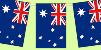 Australia Flag Display Bunting - commonwealth, display, australia