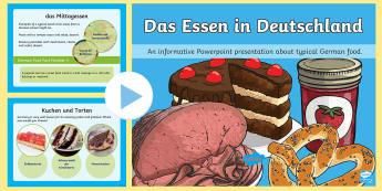 Typical German Food PowerPoint German - Germany, Deutschland, Food, Dishes, Customs, DAF, DAZ