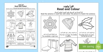 Winter Read and Colour Activity Sheet Arabic/English - Winter Read and Colour Activity Sheet - winter, read and colour, read, colour, activity, Arabic tran