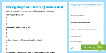 Weekly Target and Record of Achievement Young People & Families Case File Recording Template - Young People & Families Case File Recording, referral, chronology, contents page,buddy system, safeg