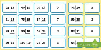 Tarjetas de emparejar: Divisiones con dos cifras en el divisor y dos en el dividendo - dividir, división, repartir, cifras, divide, division, sharing, figures, digits, escrito, escrita,