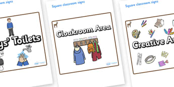 Deer Themed Editable Square Classroom Area Signs (Plain) - Themed Classroom Area Signs, KS1, Banner, Foundation Stage Area Signs, Classroom labels, Area labels, Area Signs, Classroom Areas, Poster, Display, Areas