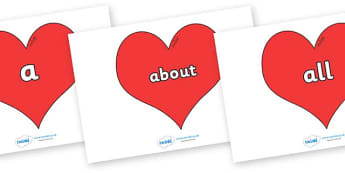 100 High Frequency Words on Hearts (Plain) - High frequency words, hfw, DfES Letters and Sounds, Letters and Sounds, display words
