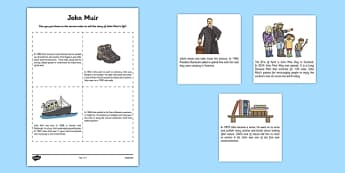 Scottish Significant Individuals John Muir Sequencing Activity Sheet - Scottish significant individual, conservation, National Parks, Yosemite, Sierra Nevada, United States, worksheet