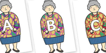 A-Z Alphabet on Little Old Lady - A-Z, A4, display, Alphabet frieze, Display letters, Letter posters, A-Z letters, Alphabet flashcards